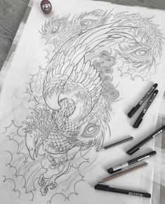 japanese tattoos meaning Japanese Phoenix Tattoo, Japanese Tattoo Art, Japanese Tattoo Designs, Tatto Ink, Body Art Tattoos, Sleeve Tattoos, Asian Tattoos, Black Tattoos, Tattoo Sketches