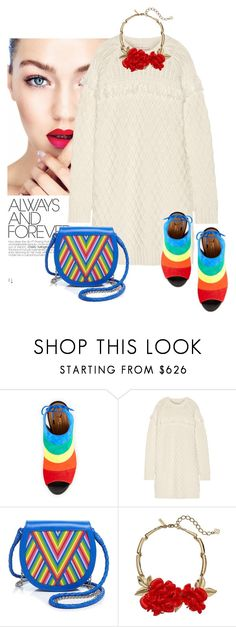 """Trend: In Rainbows"" by perilousness-fashion on Polyvore featuring Aquazzura, Tory Burch, Lili Radu, Oscar de la Renta, women's clothing, women's fashion, women, female, woman and misses"
