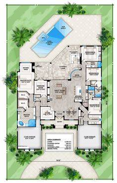 Palencia - House Plan offered by South Florida Design located in Bonita Springs, FL House Layout Plans, New House Plans, Dream House Plans, House Layouts, House Floor Plans, Tuscan House Plans, Coastal House Plans, Florida House Plans, Florida Home