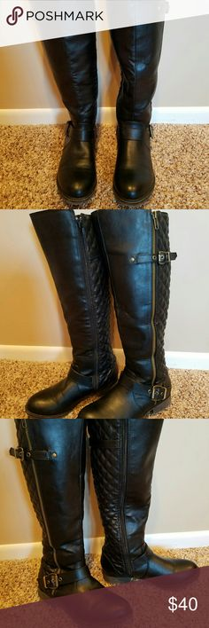 Madden Black Quilted Knee High Zip Boots These fashion boots were worn a couple of times. Totally on trend with the quilting. Really cute. Man made textiles. This might be referred to as vegan leather I think.??. Low heel. EUC. Madden Girl Shoes Heeled Boots