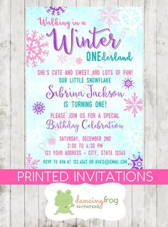 This adorable Winter Onederland invitation comes customized with your ...