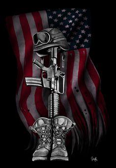 Josh Garner Art - Official Website - The Fallen Soldier Patriotische Tattoos, Army Tattoos, Military Tattoos, Temporary Tattoos, Warrior Tattoos, Tattoo Ink, Sleeve Tattoos, Basic Tattoos, Usa Tattoo
