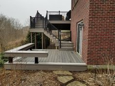 TimberTech Deck install by All Decked Out of Cincinnati, Ohio. Keylink all aluminum railing system used. Cool Deck, Diy Deck, Building A Deck, Building Plans, Laying Decking, Deck Construction, Custom Decks, Pergola Attached To House, Deck Plans
