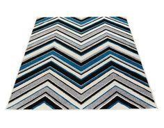 Saga-matto, sininen. Vintage -tyylinen lyhyellä nukalla oleva matto, jossa siksak -kuvionti. Materiaali pölyämätöntä polypropyleeniä.