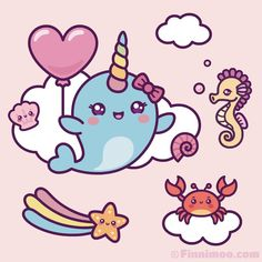 Cute Kawaii Narwhal Girl Dreams Of Flying In The Sky Together with her cute ocean friends little Narwhal Girl Finnimoo … Kawaii Narwhal, Cute Narwhal, Kawaii Doodles, Kawaii Art, Kawaii Drawings, Cute Drawings, Easy Mermaid Drawing, Unicorn Pictures, Gif Pictures