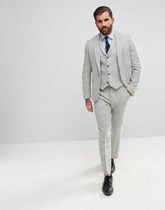 ASOS - Costume slim en tweed Harris 100% laine à chevrons - Gris clair Cobes 4e812320deb
