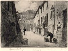 """Lionel Lindsay (Aus., 1874-1961) Old Essex Street, 1911. Etching, signed in plate lower centre, signed, titled, annotated """"1st state"""" and """"proof 30"""" in pencil in lower margin. Ref: Mendelssohn #55, listed as Old Essex Street from George St, Sydney. Held in the NGA collection."""