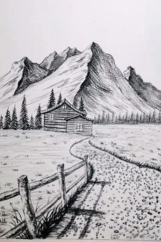 Landscape Pencil Drawings, Cool Pencil Drawings, Landscape Sketch, Art Drawings Sketches Simple, Landscape Paintings, Pencil Sketches Of Nature, Simple Landscape Drawing, Mountain Landscape Drawing, Beach Sketches