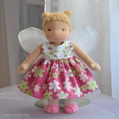 waldorf doll by tatiart Girls Dresses, Flower Girl Dresses, Waldorf Dolls, Harajuku, Sewing, Toys, Create, Wedding Dresses, Style