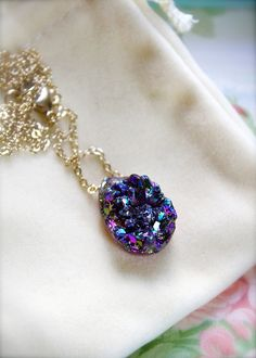 Peacock -- Flamboyant Dance - Gold Druzy Necklace, Classic Chic, Everyday Elegance, Gold Jewelry, Druzy Geode Stones, Purple Blue
