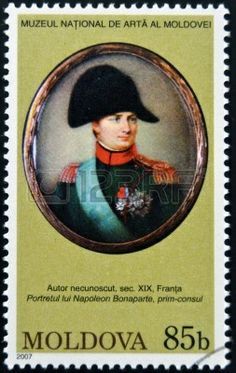Moldavia - CIRCA 2007: Sello impreso en Moldova dedicado a las obras del Museo Nacional de Arte, muestra a Napoleón Bonaparte, alrededor del...