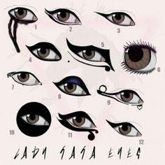 lady gaga eyes by tara savelo No Eyeliner Makeup, Skin Makeup, Lady Gaga Concert, Lady Gaga Makeup, Pin Up Princess, The Fame Monster, Rock Star Party, Chalk Drawings, Gypsy Life
