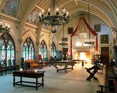 Have a Ballroom  Newport, R.I.    This 1894 Gothic castle's grand ballroom boasts ornate details straight from the 19th century, including a large, castle-inspired fireplace, intricate stained-glass panels and soaring, vaulted ceilings.