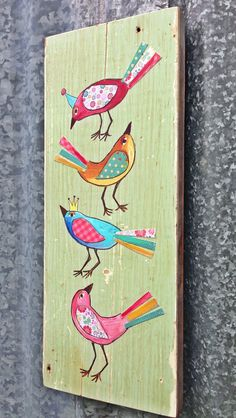 Spring  Birds Modern Folk  by evesjulia12 on Etsy, $58.00