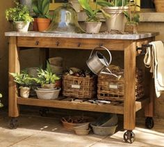 left over granite?  use for potting table.  Love this potting table
