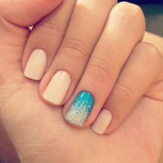 Light Blue accent nail with navy blue nails