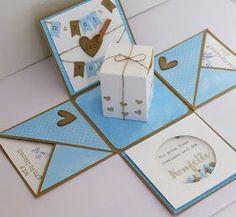 Eine meiner Lieblings-Kolleginnen hat geheiratet und da musste ich natürlich eine Explosionsbox machen! Die Idee mit dem Konfetti-Spruch ist...