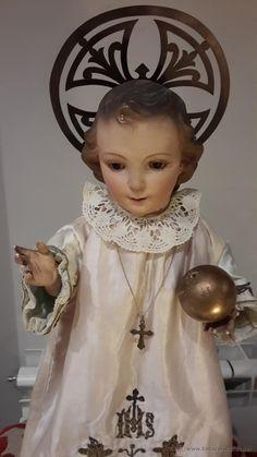 TALLA EN MADERA DEL NIÑO JESUS DE LA BOLA , CAPIPOTA DEL SIGLO XIX