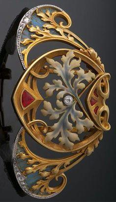 Art Nouveau Gold, Plique a jour Enamel and Diamond Necklace/Collar Centerpiece ~ M.S. Rau Antiques | JV