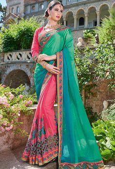 Turquoise,Pink Georgette #Designer #Saree #nikvik #usa #designer #australia #canada #freeshipping #sari