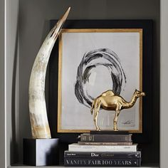 Yak Horn on Black Stand | Williams Sonoma