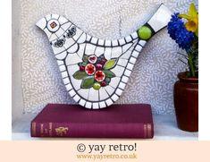 Hearts & Flowers Large Mosaic Bird (£26.00)