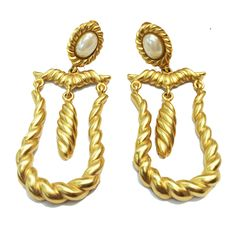 Magical Matte Gold and Pearl Earrings From Sheri's Vintage Collections 40 West 25th Street, Gallery 30, NYC E-mail Sew125@aol.com