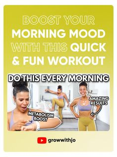 Mornings are challenging...if you struggle to boost your mood when you wake up early, try this workout! It will change the way your day goes and make you much more productive! Burn calories and work up a sweat with me! Wake Up Workout, Morning Workout Routine, Walk The Weight Off, Morning Mood, Boost Metabolism, How To Wake Up Early, Burn Calories, Fun Workouts, Burns