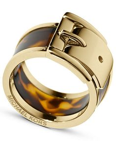 Michael Kors Ring, Gold Tone Tortoise Wide Buckle Ring - Fashion Jewelry - Jewelry & Watches - Macy's
