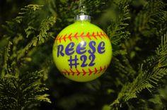 Softball Ornament, I would make it white not yellow.