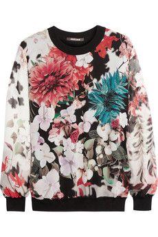 Roberto Cavalli Floral-print silk-chiffon and jersey sweater | NET-A-PORTER
