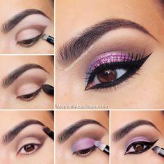 purple pink glitter eye makeup tutorial