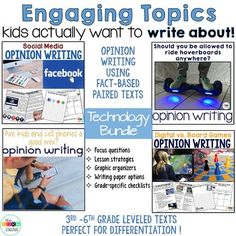 A variety of great topics to engage your writers. Paired texts for each topic included!