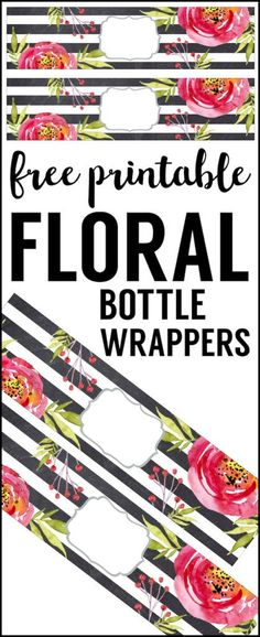 Flower Water Bottle Labels Free Printable. Easy DIY water bottle wrappers for a baby shower, bridal shower, wedding, birthday, spring or Easter party.