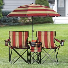 "This oversized version of our popular outdoor Beach Set features an umbrella table/cooler & two jumbo chairs, along with a handy rolling tote. • A BrylaneHome® Exclusive! • Jumbo chairs support up to 300-lbs*, each • Made of poly/canvas • Chairs measure: 24""W (19"" seat) x 38""H, each • 55¾""W seat • 64""H x 57"" diameter umbrella • Stores accessories and keeps you cool • Center table also functions as insulated cooler • 2-wheel tote with handle • We've got you covered at the beach; but fulfill…"