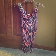 Multi colored drape tank top from Guess. Colors: pink, orange, blue and purple. 100 % rayon. Guess brand. Guess Tops Tank Tops