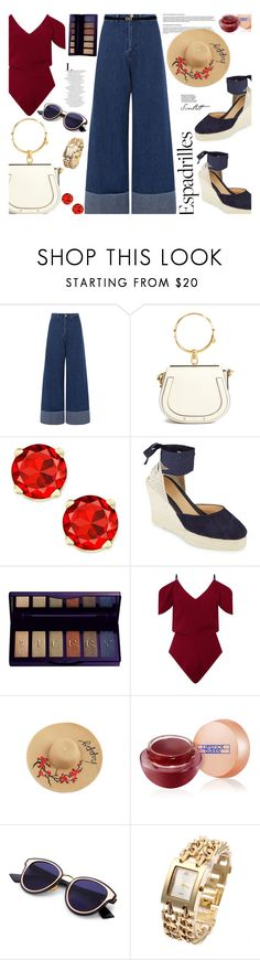 """Espadrilles..."" by unamiradaatuarmario ❤ liked on Polyvore featuring Sea, New York, Chloé, Manebí, By Terry, Roland Mouret, Lipstick Queen, Salvatore Ferragamo and espadrilles"