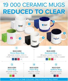 Ceramic Branded Mugs supplied by Best Branding.  19 000 Ceramic Mugs reduced to clear from only.  With prices starting from as low as R19.99 each, excl vat, our ceramic mug clearance is sure to be very popular with your clients.  As a result of discontinuing our Digital Transfer Branding Process on ceramic mugs late last year, these mugs have been discontinued and therefore heavily reduced to clear.  We have replaced these mugs with identical mugs that have a sublimation coating to enable us… Branded Mugs, Branding Process, Plastic Mugs, Ceramic Mugs, Tumblers, Photo Ideas, Coffee Mugs, How To Remove, Printing
