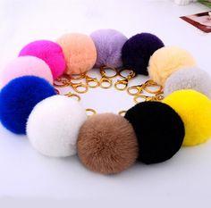 12 Color Rabbit Key Chain Women Bag Fur Fluffy Bunny Keychain Rex Ball Car Charm Handbag Pendant Trinket  PomPom Ball Key Ring
