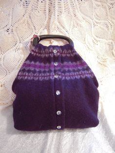 Purple Felted Wool Purse from Upcycled Sweater by bluruner on Etsy, $40.00