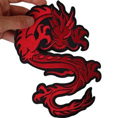 Large Iron On Embroidered Chinese Dragon Patch / Sew On Jacket Shirt Biker Badge - 1