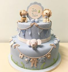 Bolo do Chá do João Pedro. Baby Shower Cakes Neutral, Torta Baby Shower, Baby Shower Cakes For Boys, Baby Boy Cakes, Bolo Fack, Christening Cake Boy, Baby Boy Birthday Cake, Shower Bebe, Fondant Baby