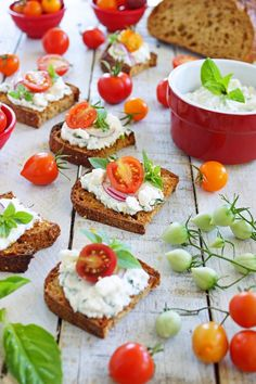 Herbed Ricotta Spread with Feta Cheese and Cherry Tomatoes on Multigrain Toasts / Patty's Food