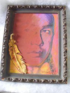Oil Painting Allen Midgette Cherokee Indian Mixed Media Circle of Warhol   eBay