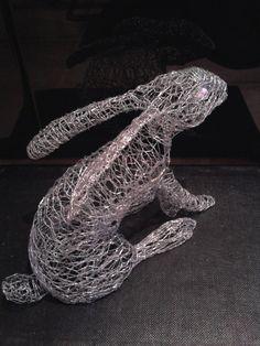 view of my wire rabbit sculpture wire art rabbit Chicken Wire Art, Chicken Wire Sculpture, Chicken Wire Crafts, Rabbit Sculpture, Sculpture Metal, Wire Sculptures, Garden Sculptures, Rabbit Wire, Fantasy Wire