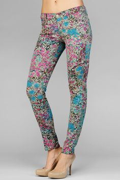 Printed Skinny Jeans, Cropped Skinny Jeans, Printed Pants, Skinny Pants, Crazy Pants, Skins Leggings, 7 Jeans, Floral Jeans, Second Skin
