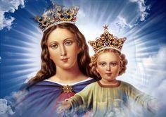 María Auxiliadora. Cuadro gigantesco que preside el altar mayor de la basílica de los salesianos de Turín.
