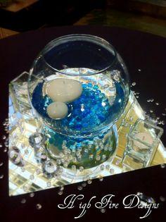 small vase with aqua beads