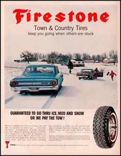 1964 Firestone Town Amp Country Tires Original Vintage Print Ad Ford Galaxy