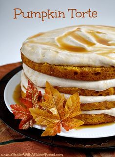 Pumpkin Torte - made with a cake mix, making this dessert sooo easy to make!  Both the cake and the filling have a pumpkin flavor to them - it's the perfect fall dessert!  Butter With a Side of Bread  #recipes